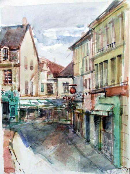 Sipos Loránd - Francia utca, akvarell - artGaléria