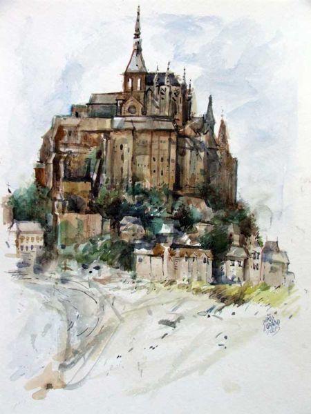Sipos Loránd - Mount Saint Michel, akvarell - artGaléria