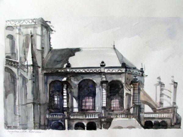 Sipos Loránd - Templomrészlet, akvarell - artGaléria