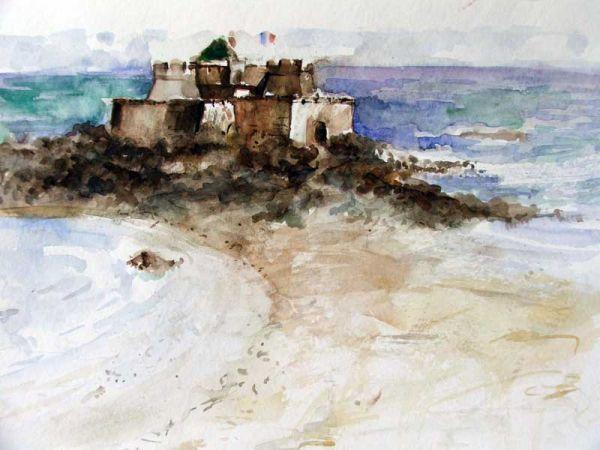 Sipos Loránd - Kastély aszigeten, akvarell - artGaléria